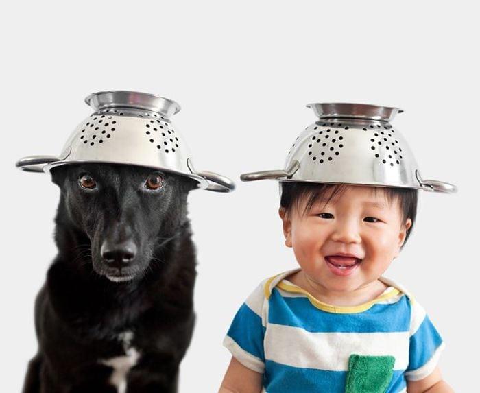 15 забавных фотографий малыша и его четвероногого друга в одинаковых головных уборах