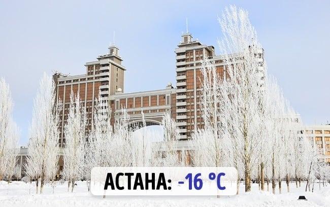 Температура зимой в разных странах. Нам бы так!
