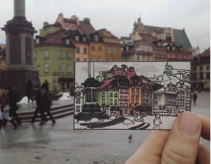 Путешественник рисует города, в которых он был! Это талант!