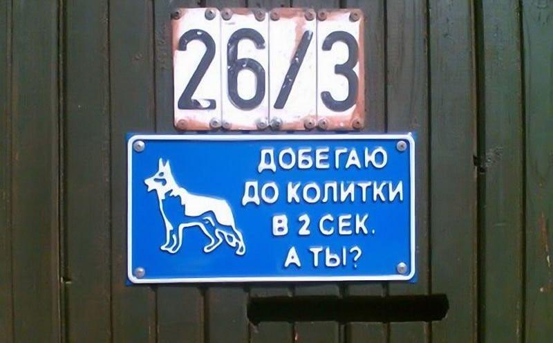 20 смешных табличек на воротах