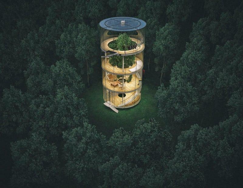 Потрясающий стеклянный дом посреди леса!