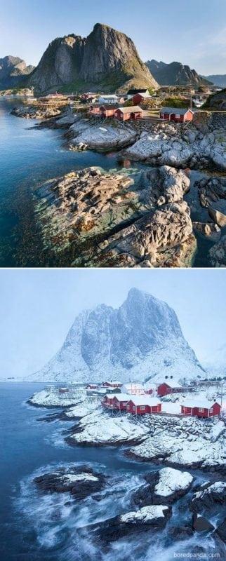 25 мест, которые выглядят совершенно по разному зимой и летом
