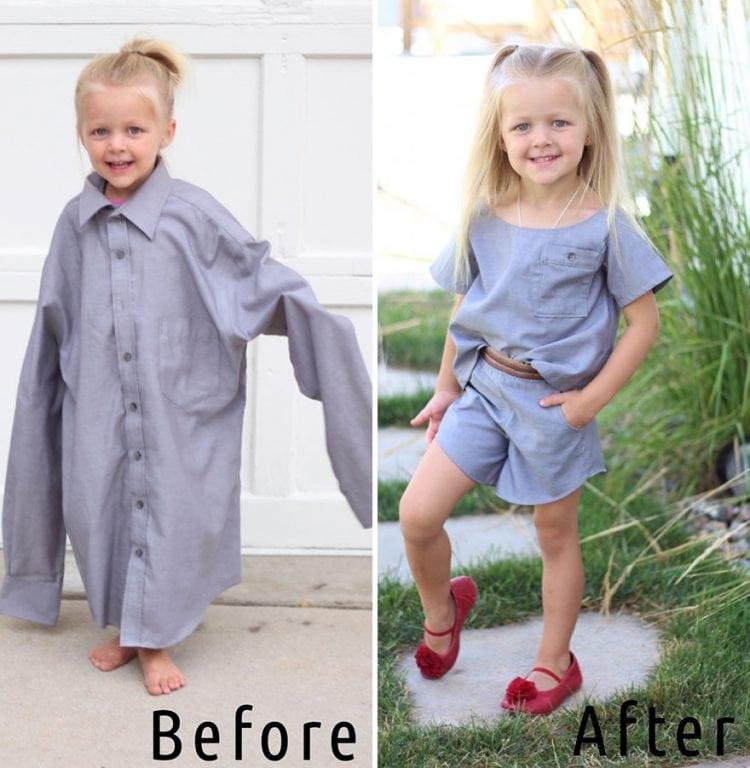 Мама творит из старой одежды мужа потрясающие наряды для дочурок