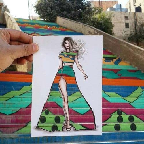 Оригинальные иллюстрации модных костюмов и платьев от Шамеха Блуви
