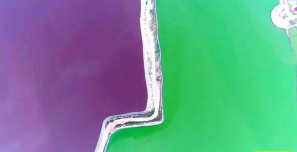 Самое необычное и контрастное соленое озеро Яньху в Китае