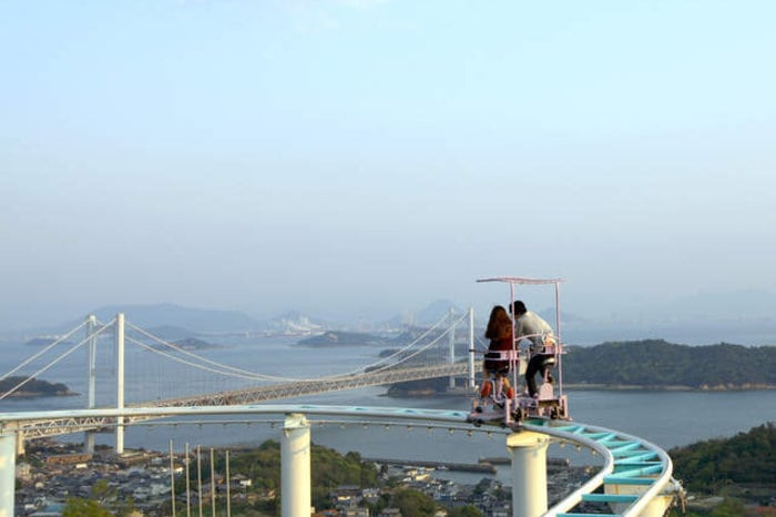 """Самый экстремальный аттракцион в Японии - """"Небесный велосипед"""""""