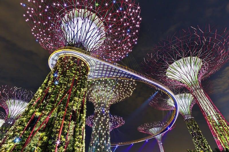 Тропический парк на берегу залива Марина Бэй в Сингапуре